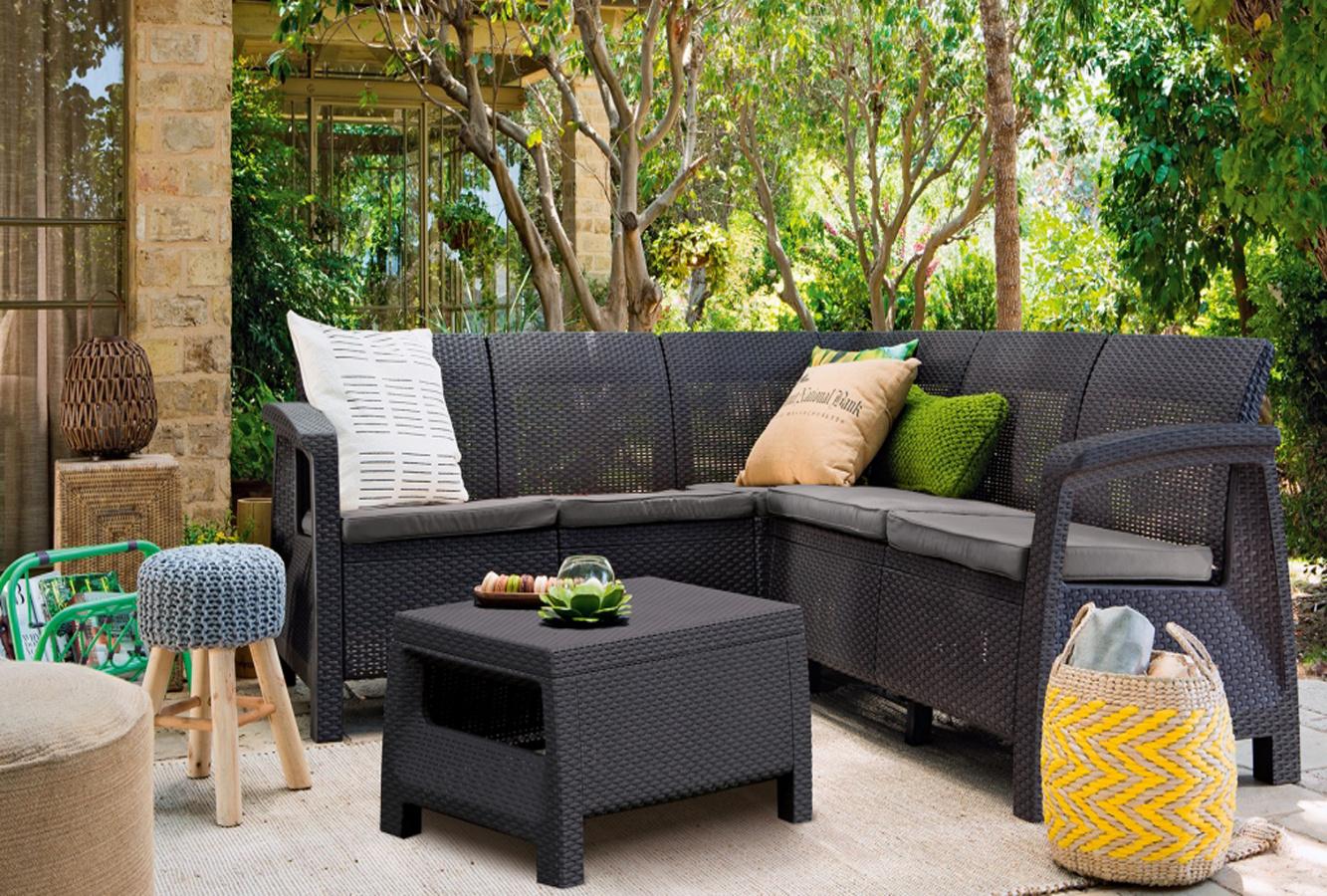 Пластиковая мебель для сада под искуственный ротанг.
